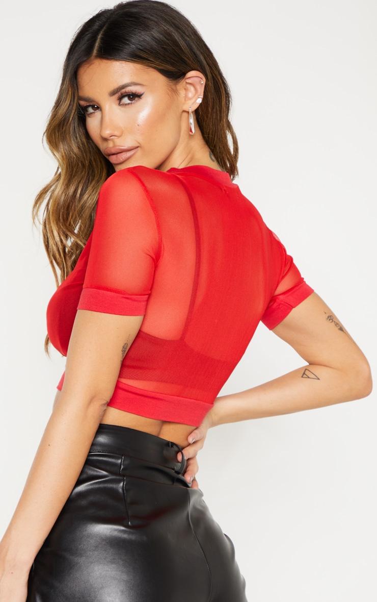 Red Sheer Mesh Short Sleeve Crop Top 2