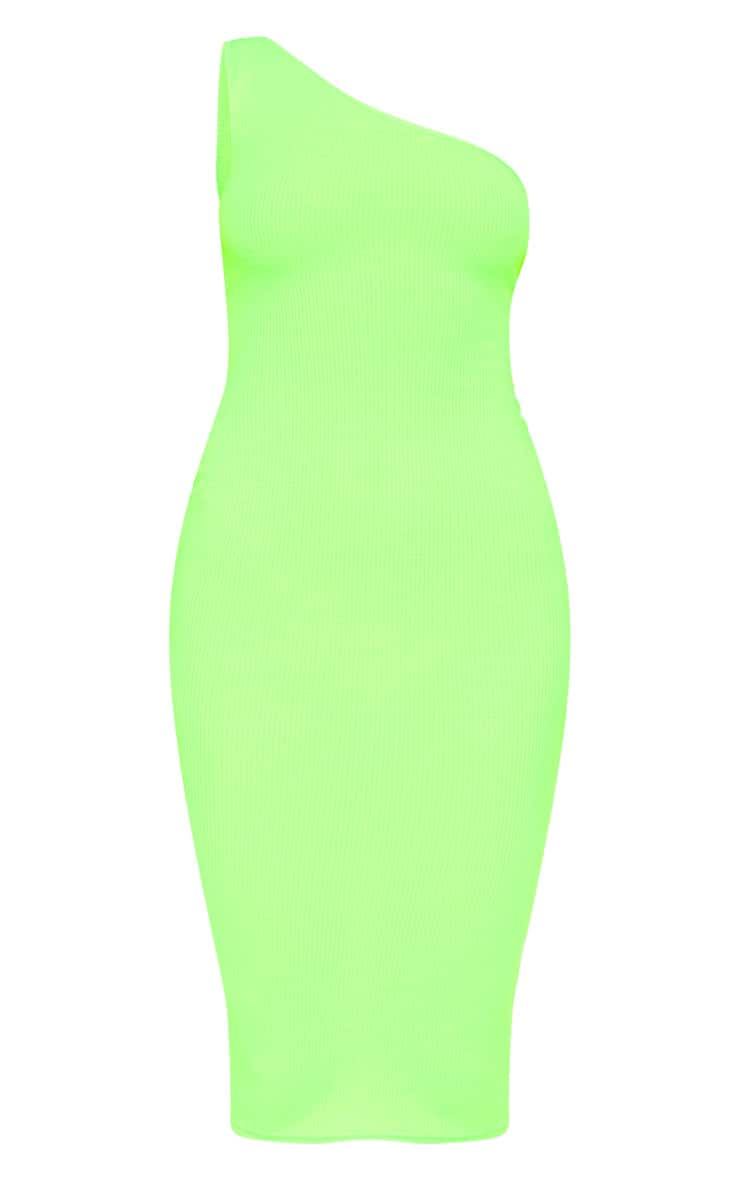 Neon Lime Ribbed One Shoulder Midi Dress 3