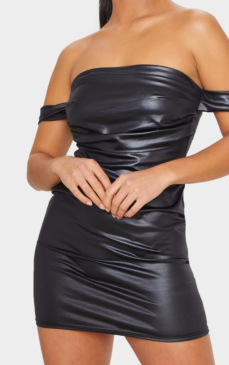 Petite Black Wet Look Mini Dress 5