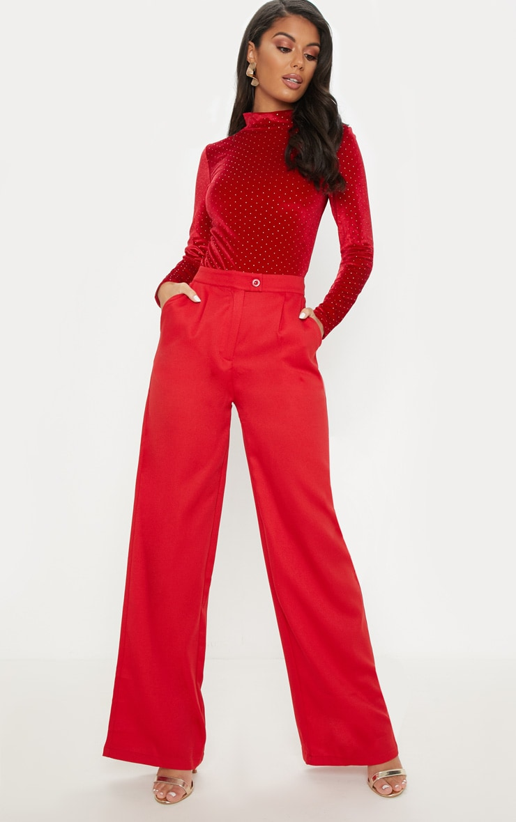 Red Formal Button Wide Leg Trouser 1