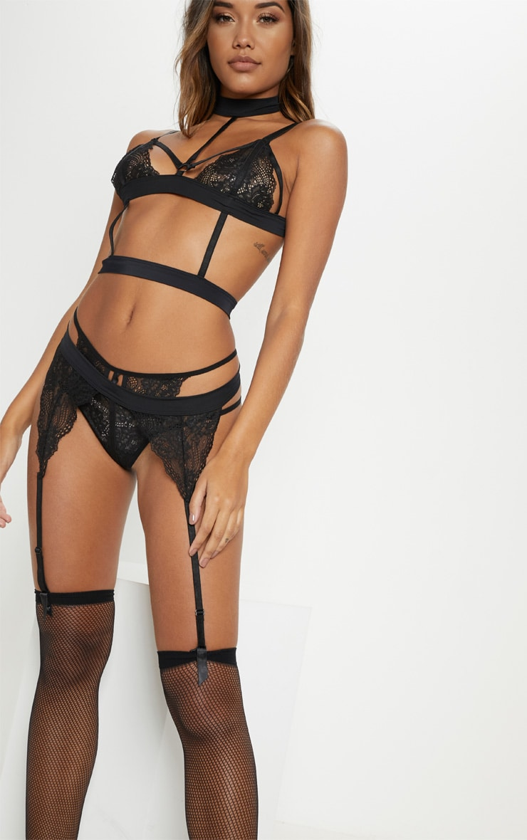 Black Lace Strappy Choker Full Lingerie Set 4