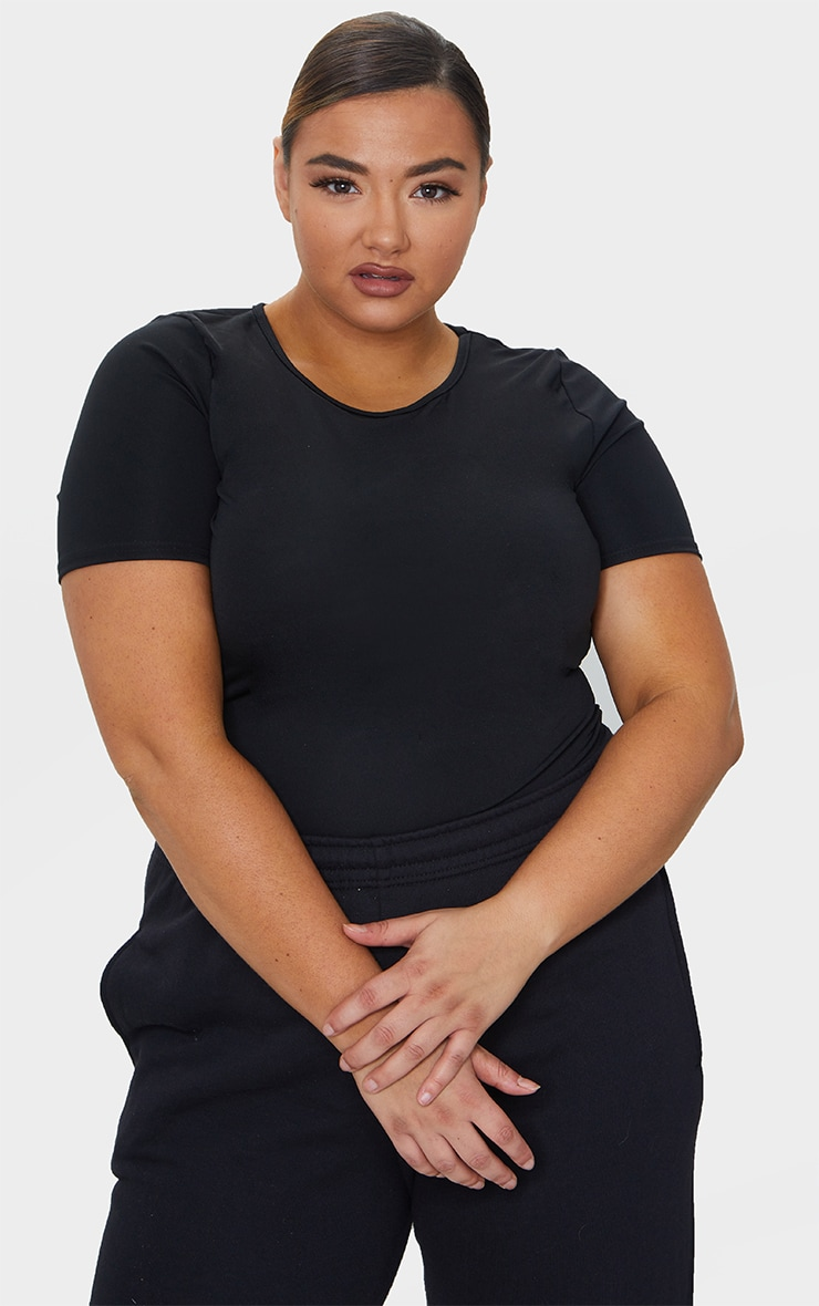 Plus Black Basic Short Sleeve Gym Top 1