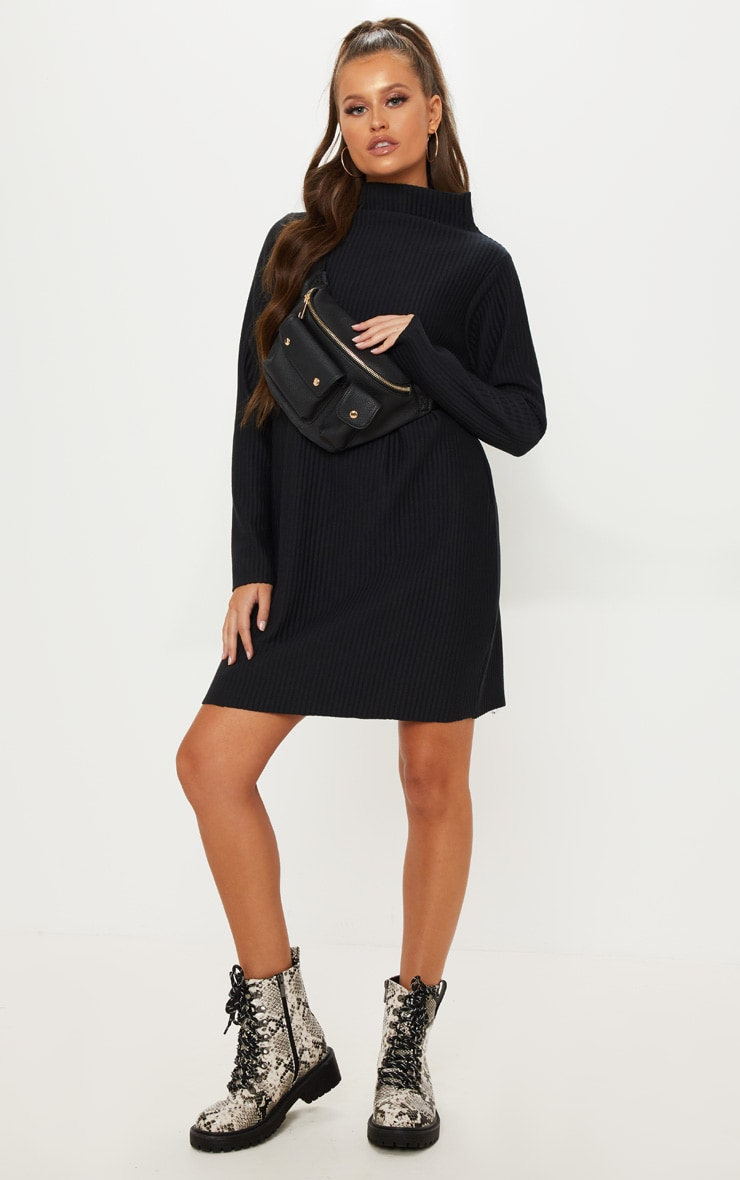 Black High Neck Thick Ribbed Oversized Jumper Dress 1
