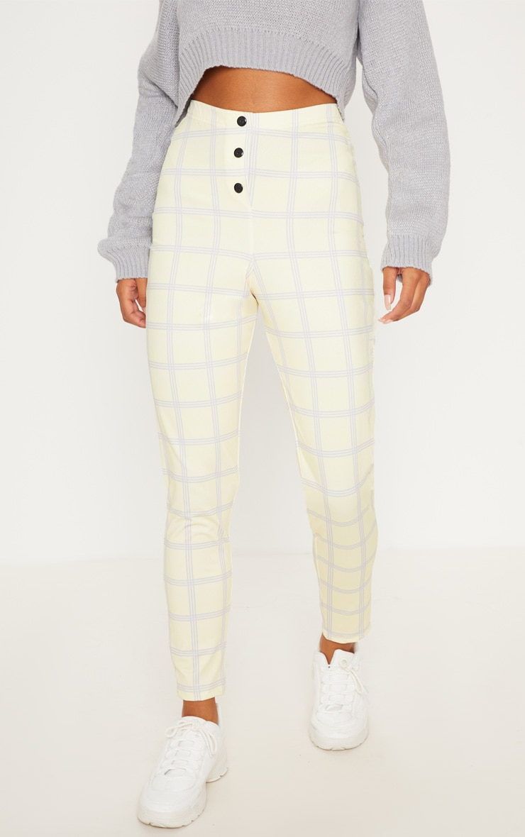 Yellow Check Popper Front Skinny Trouser 2
