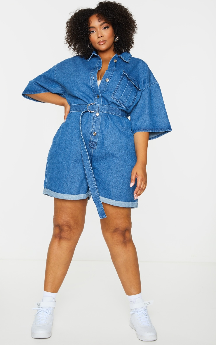 Plus Blue Wash Shorts Denim Playsuit 3