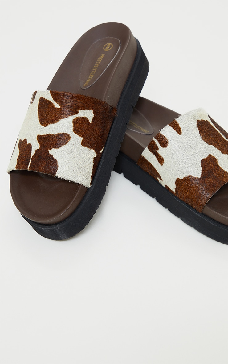 Cow Print Real Leather Footbed Chunky Mule Sandals 4