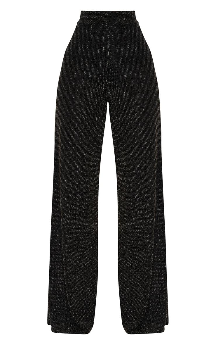 Black Glitter Wide Leg Trousers  3