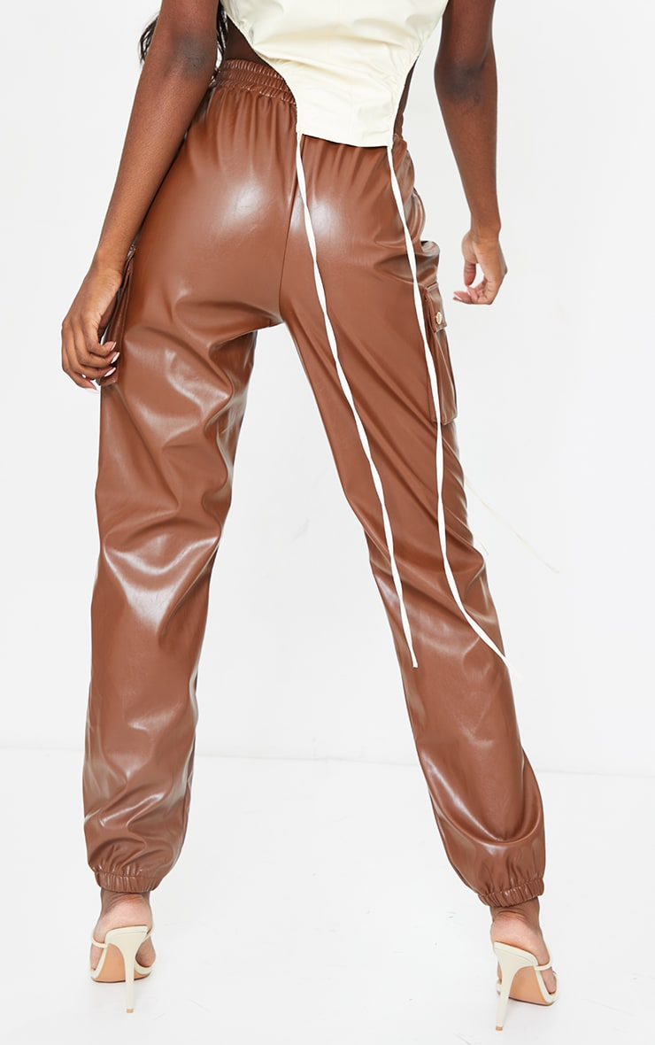 Tall Chocolate Faux Leather Pocket Detail Joggers 3