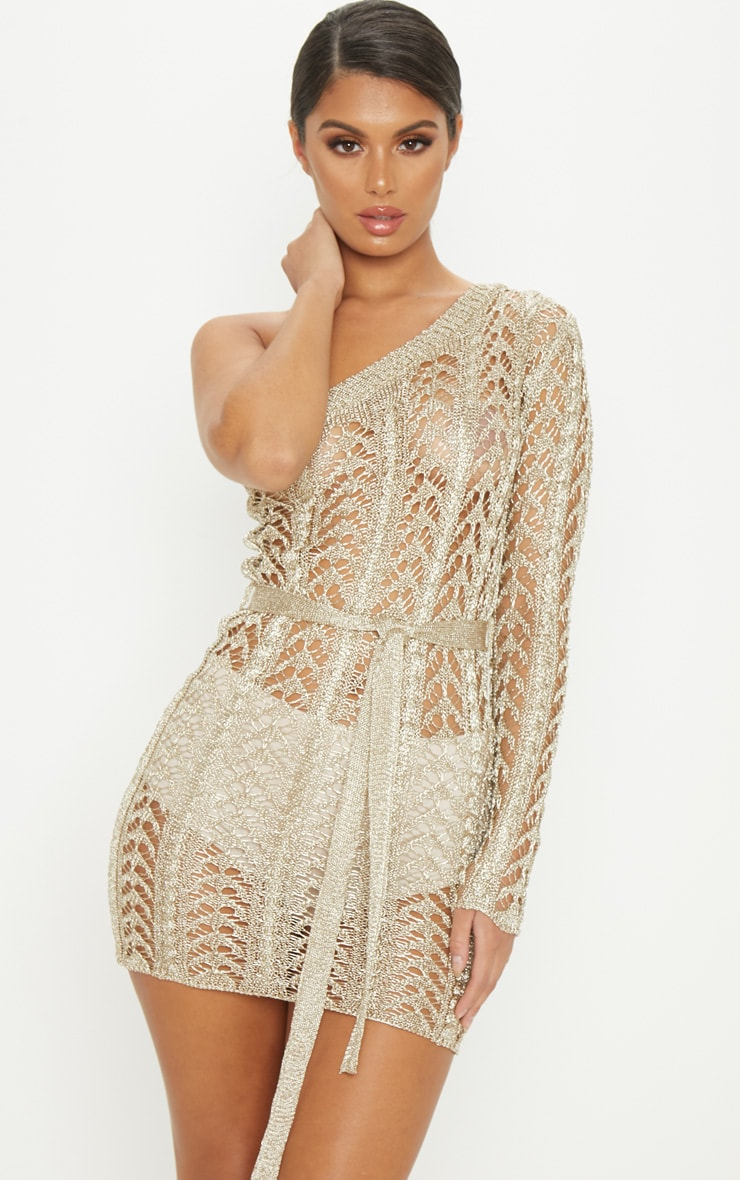 Gold Metallic Knitted Chain Detail One Shoulder Mini Dress