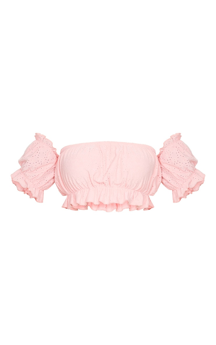 Plus Dusty Pink Broderie Bardot Puff Sleeve Crop Top 5