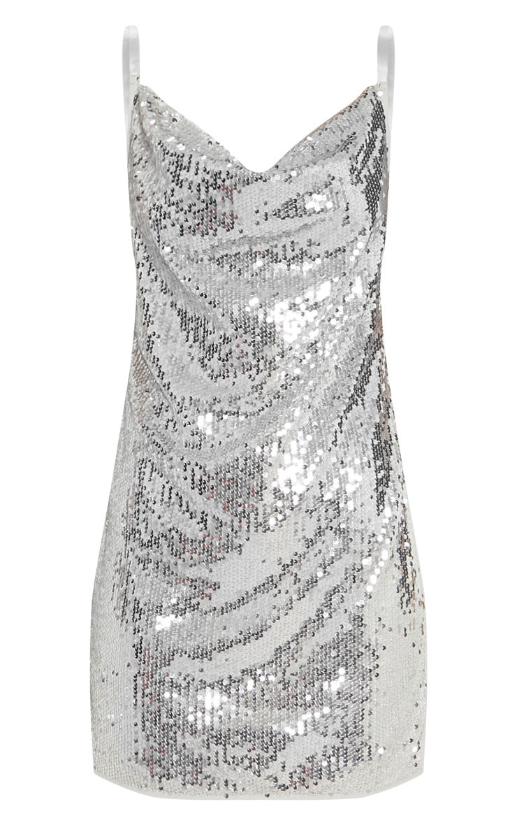 Silver Sequin Chain Side Detail Bodycon Dress 3