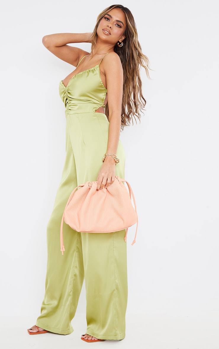 Olive Ruched Centre Strappy Satin Jumpsuit 3