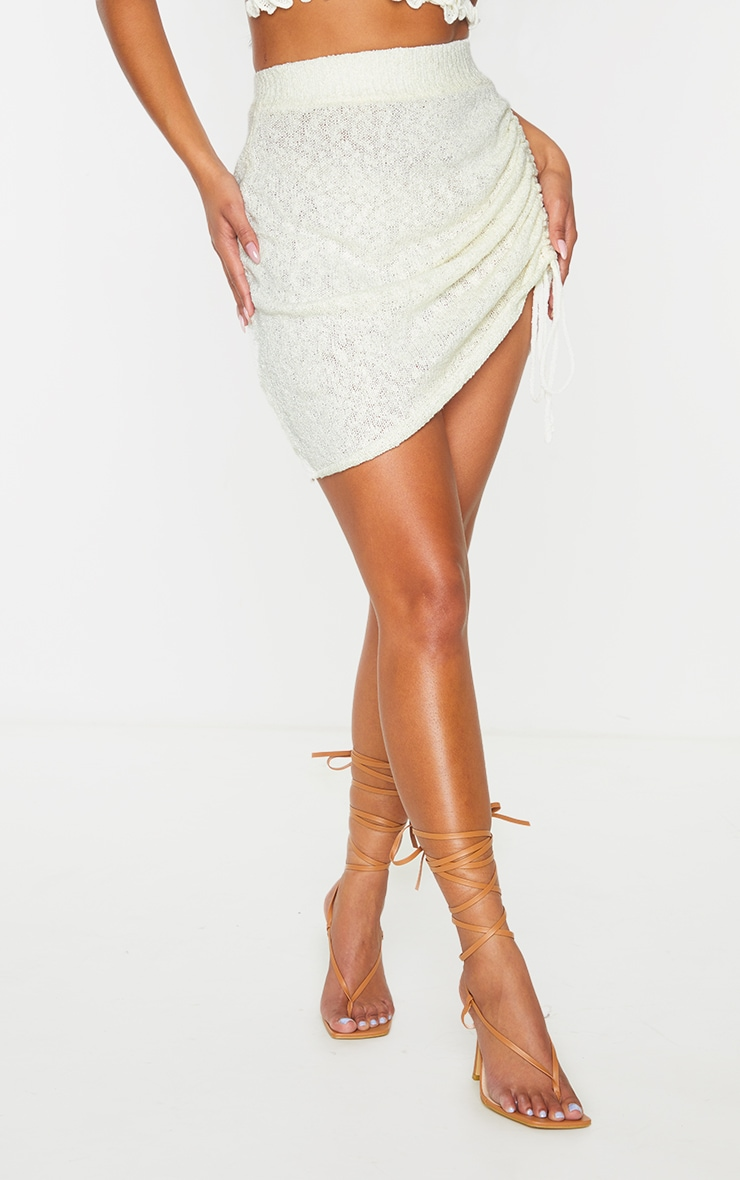 White Ruched Tie Front Knit Mini Skirt 2
