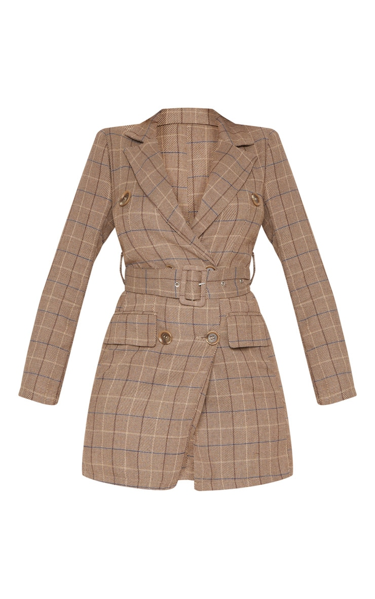 Brown Check Belted Blazer Dress 3