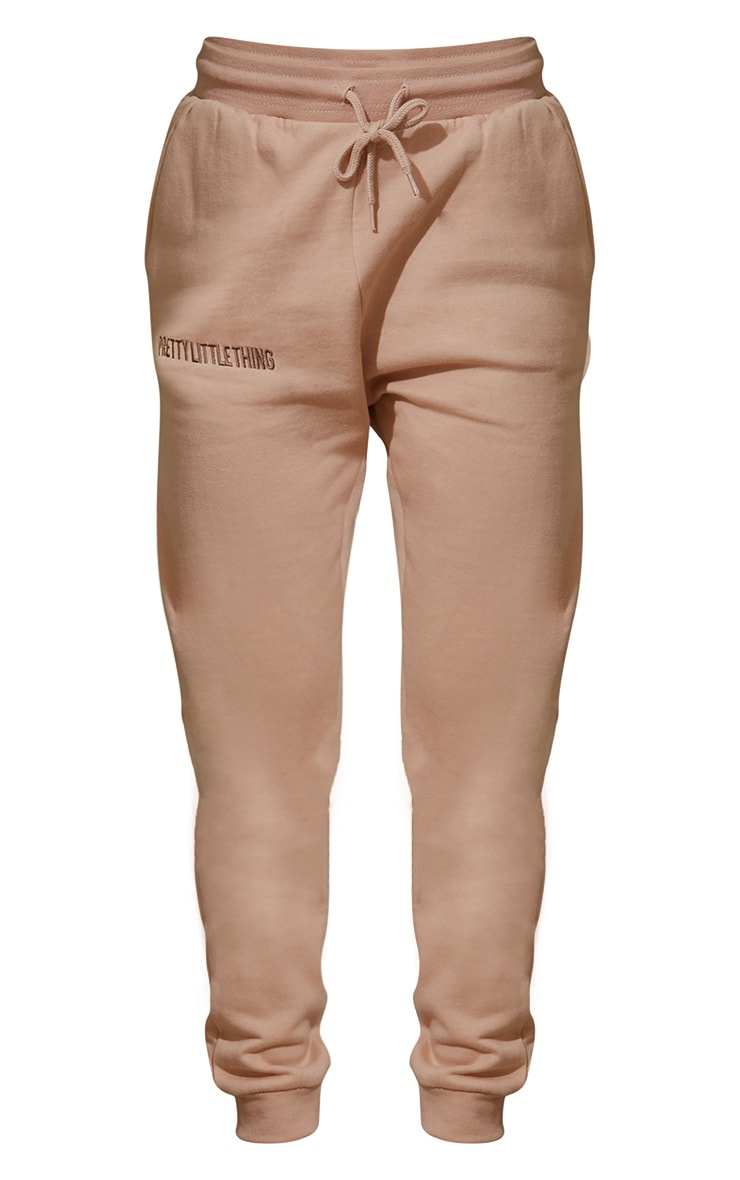 PRETTYLITTLETHING Camel Embroidered Slogan Skinny Joggers 5