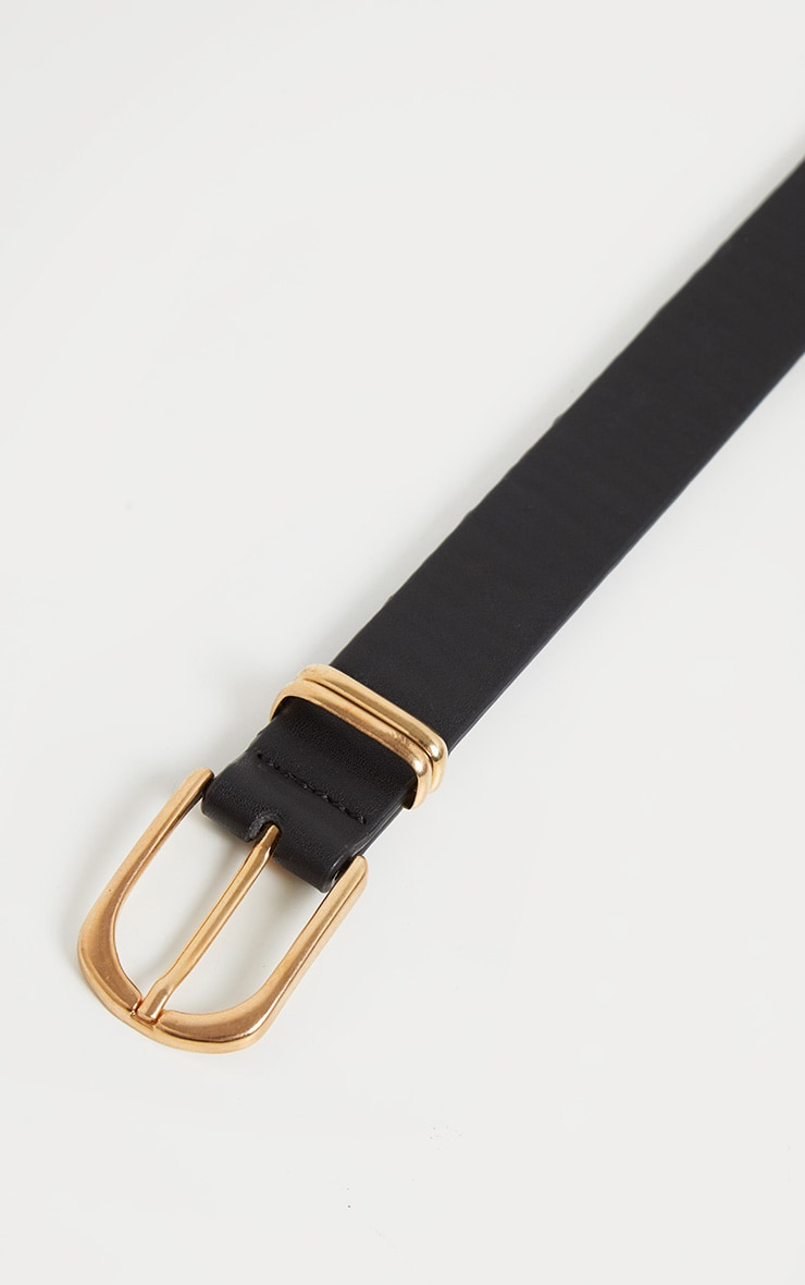 Plus Black Gunmetal Buckle Detail Faux Leather Belt 3