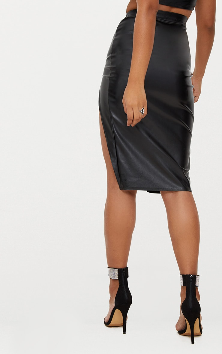 Black Faux Leather Extreme Split Skirt 4