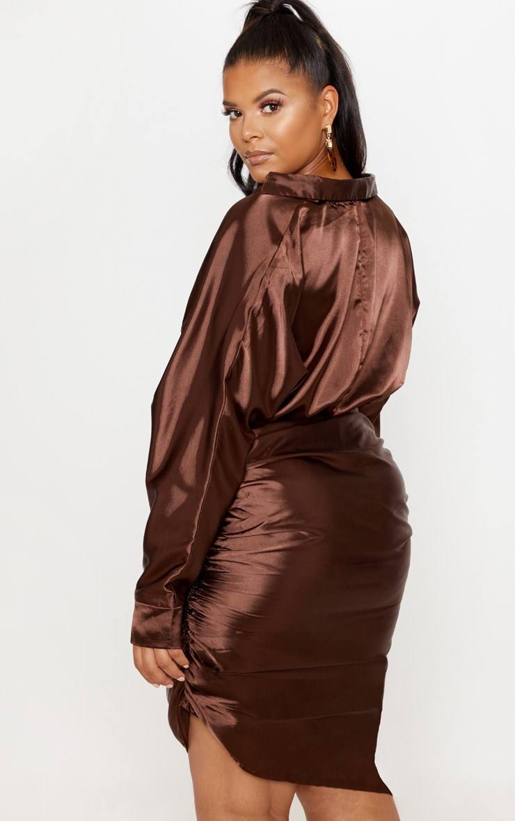 Chocolate Brown Ruched Side Midi Dress  3