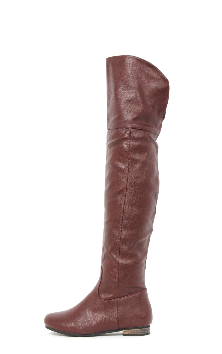 Jadie Burgundy Leather Over the Knee Boots 1