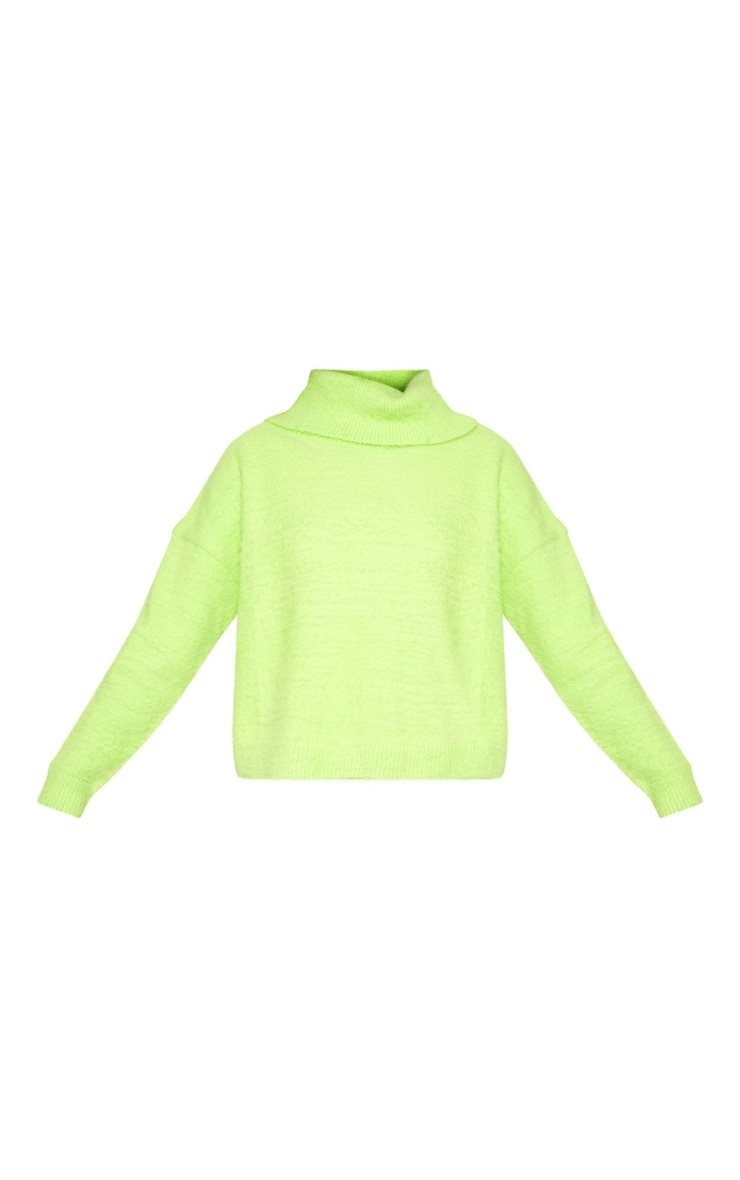 Neon Lime Roll Neck Fluffy Knit Sweater  3