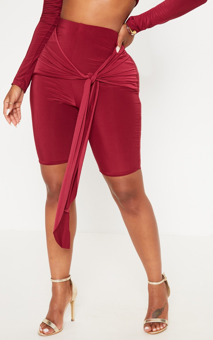 Shape Maroon Tie Front Cycle Shorts 2