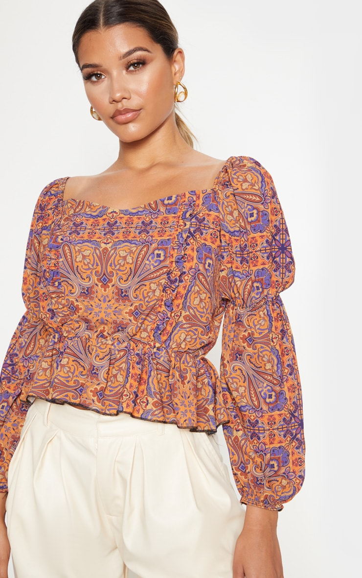 Rusty Paisley Printed Frill Square Neck Blouse 5