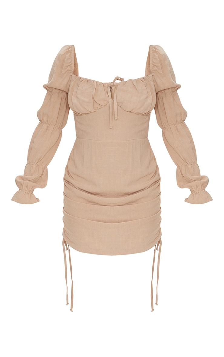 Robe moulante effet lin camel à jupe froncée et détail buste noué 5