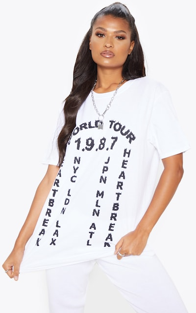 White World Tour 1987 Slogan T Shirt