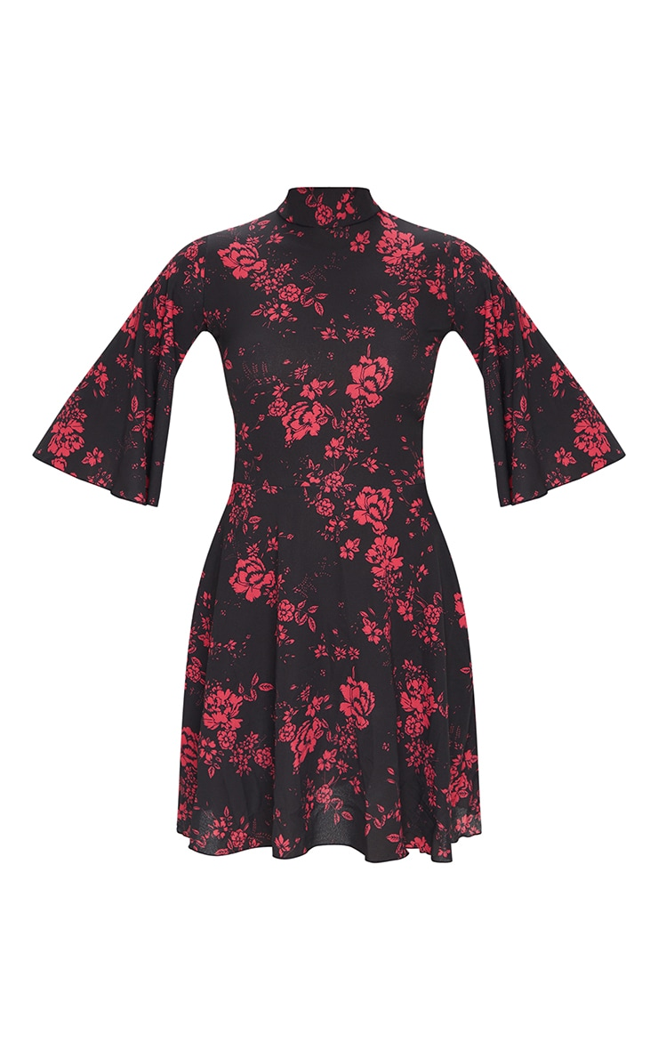 Pink Floral High Neck Cape Sleeve Skater Dress 5