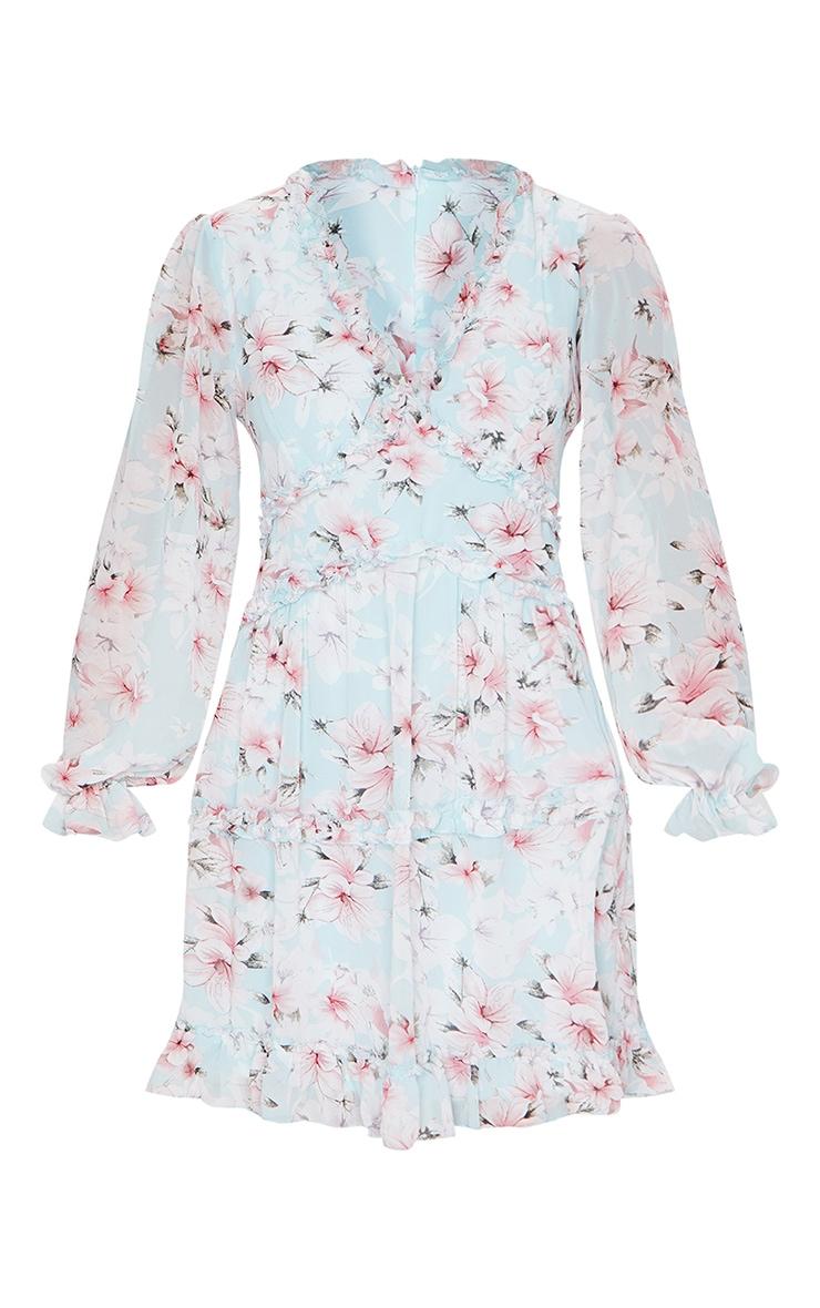Blue Floral Frill Smock Dress 5