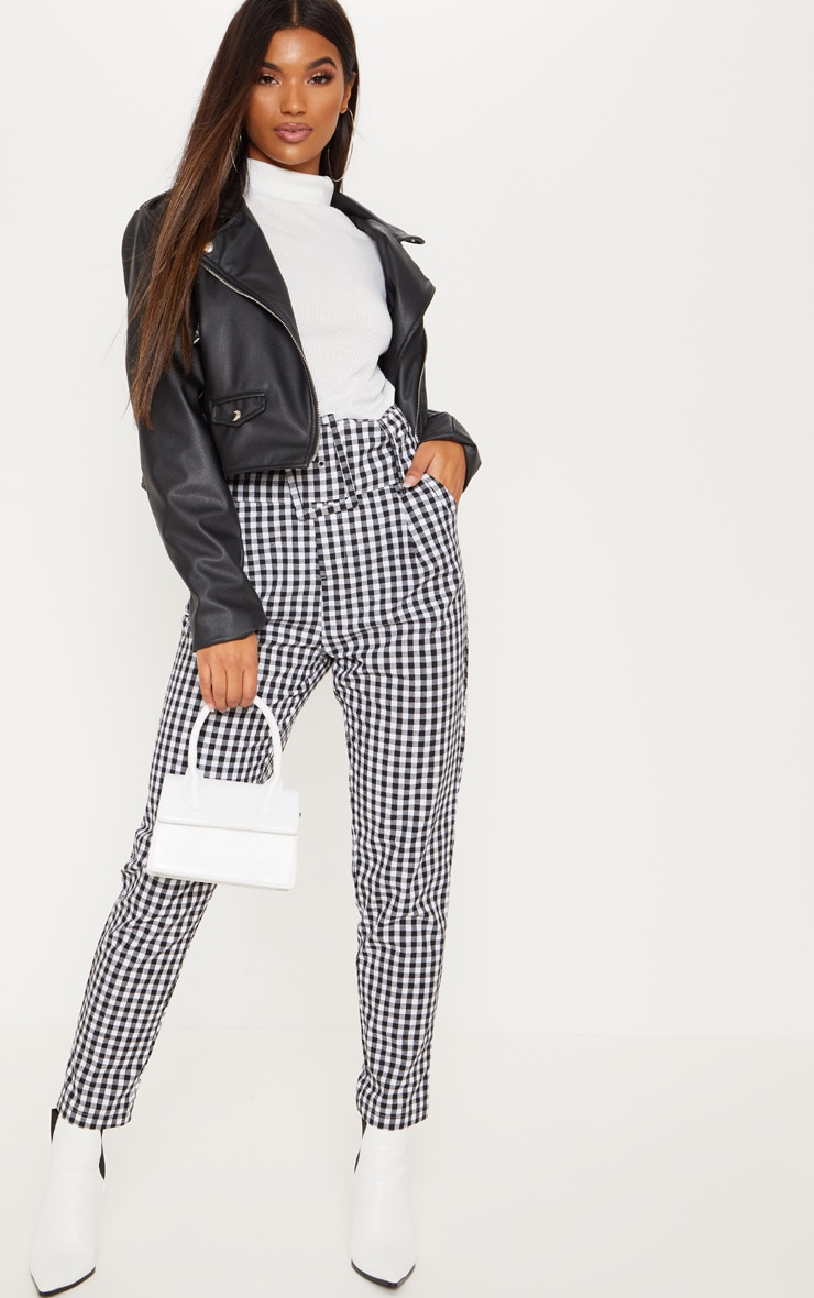 Gingham Super High Waisted Belted Tapered Trouser