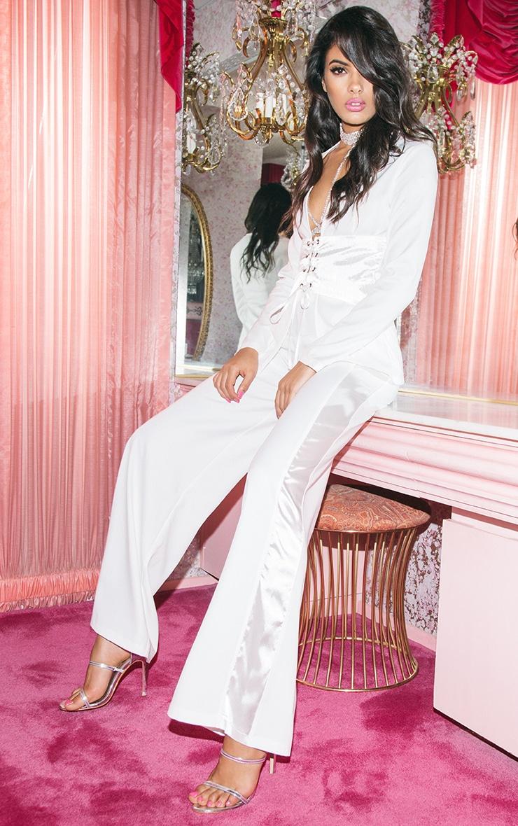 Rayla White Wide Leg Satin Stripe Suit Trousers 6