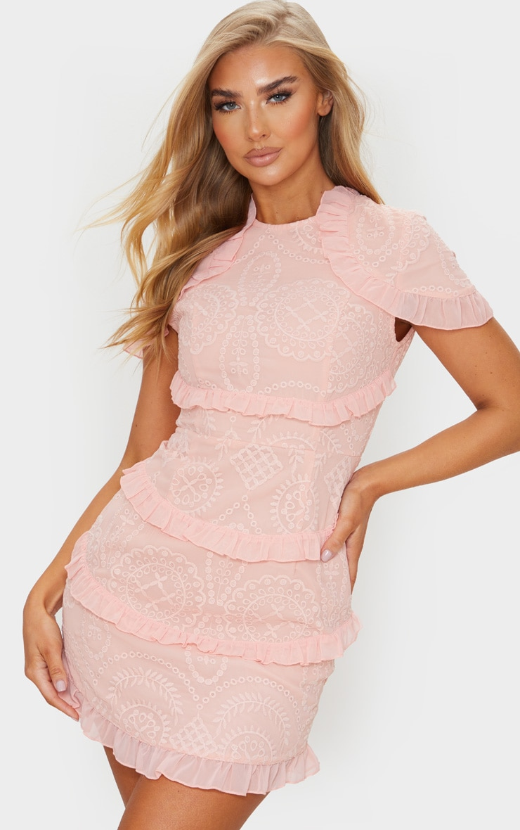 Dusty Pink Broderie Anglaise Frill Bodycon Dress 1