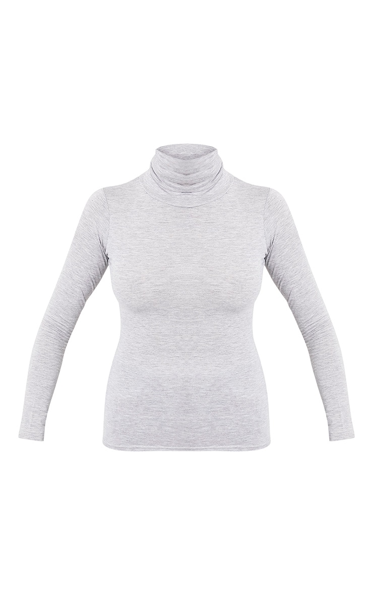 Basic Grey Long Sleeve Roll Neck Top 3