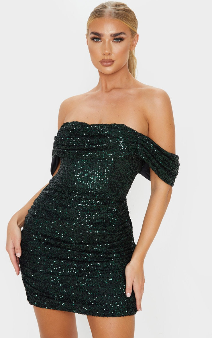 Emerald Green Sequin Bardot Bodycon Dress 1