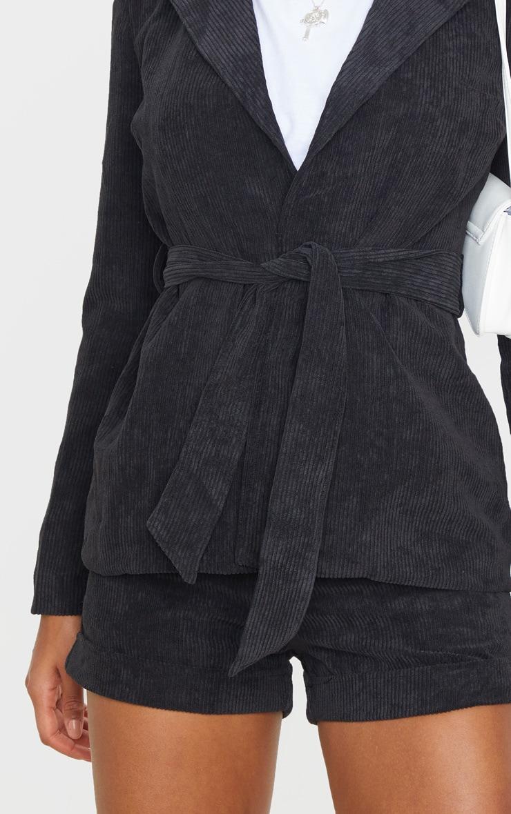 Black Cord Tie Waist Blazer Jacket  5