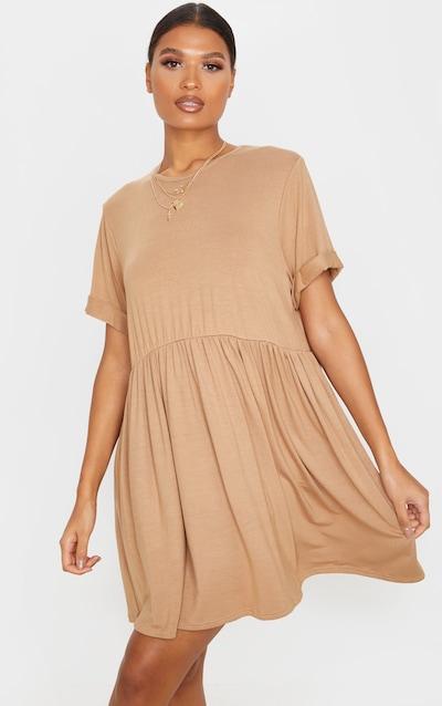 Camel Jersey Oversized Smock Dress
