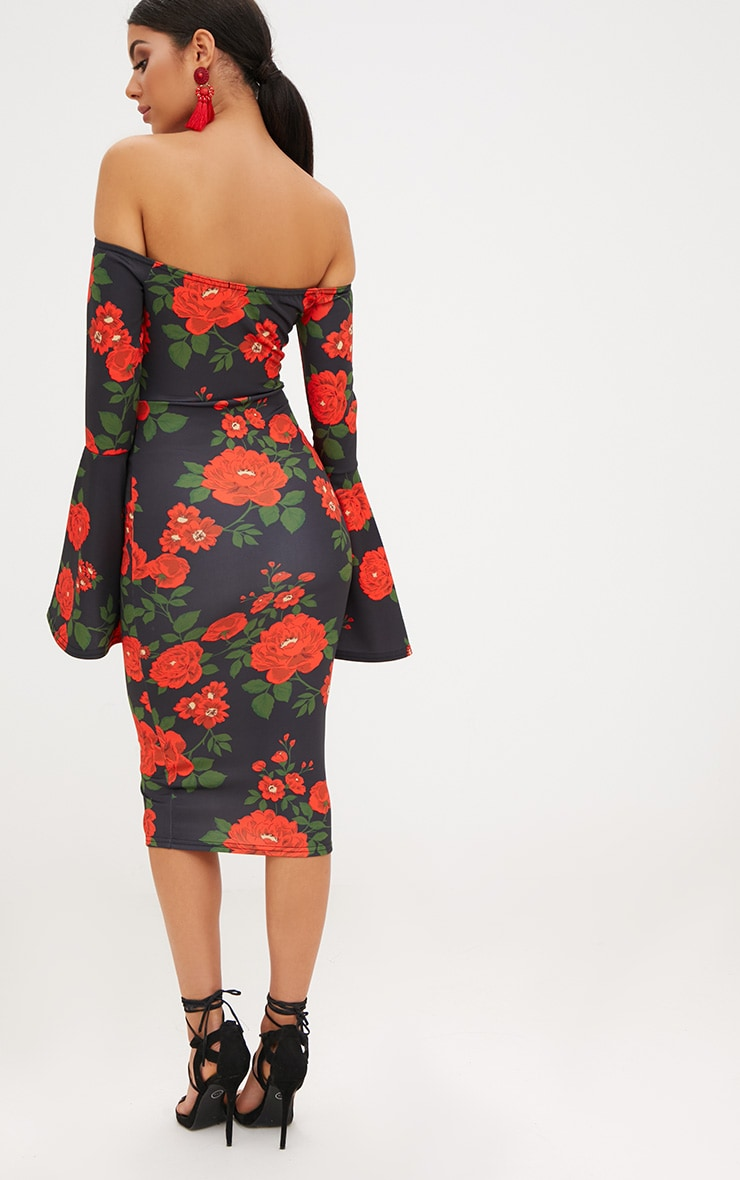 Black Floral Bardot Flared Sleeve Midi Dress 2