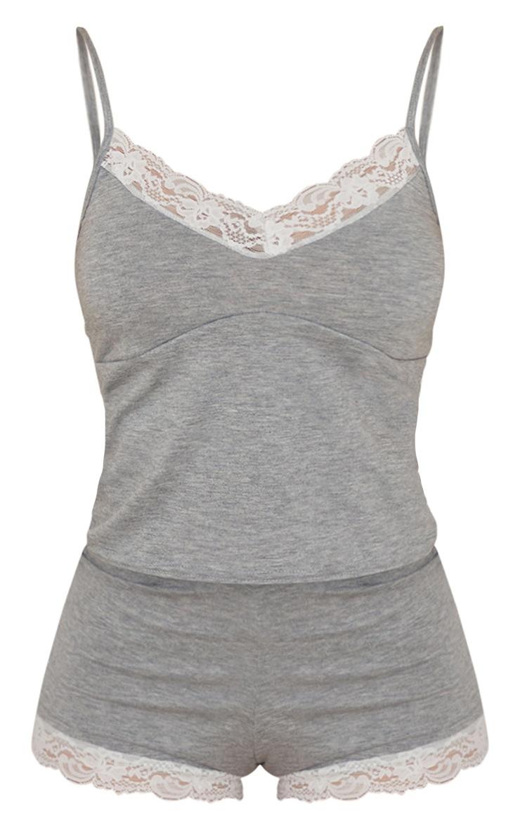 Grey Lace Trim Soft Jersey Cami And Shorts PJ Set 5