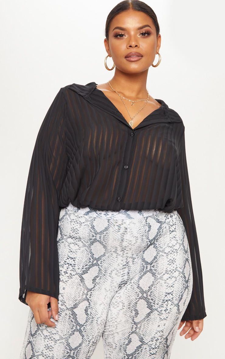 Plus Black Striped Chiffon Oversized Shirt 1
