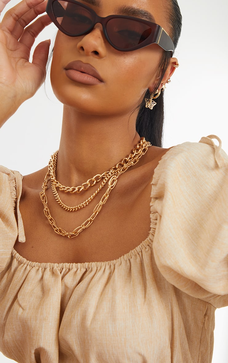 Gold Three Assorted Chain Layering Necklace 2