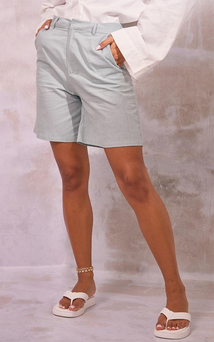Sage Green Linen Look Tailored Bermuda Shorts 2