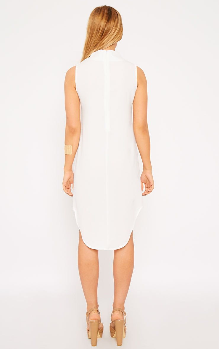 May White Crepe High Neck Dip Hem Shift Dress 2