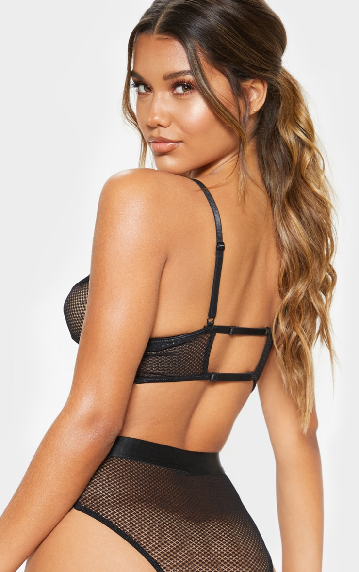 Black Lace And Fishnet Bra 2