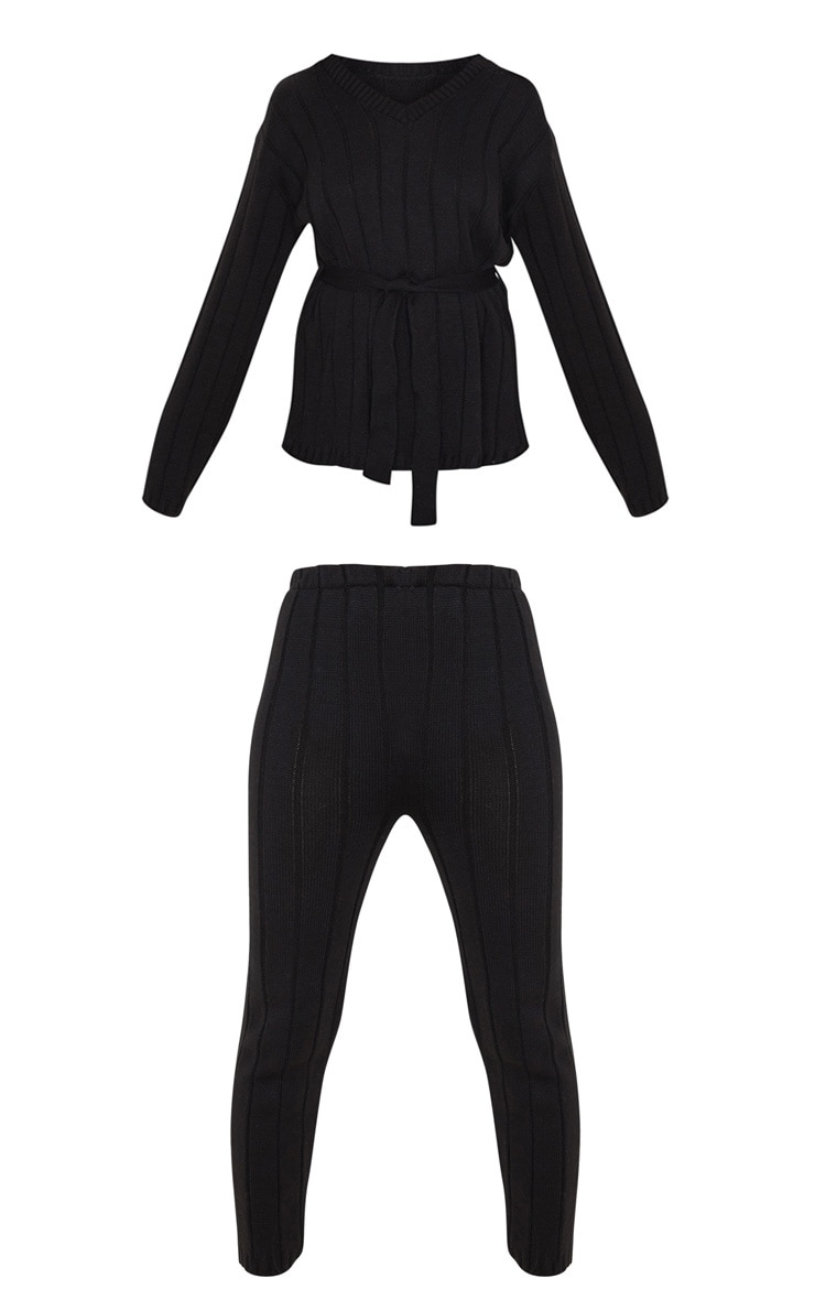 Black Belted Longline Sweater And Legging Lounge Set 3