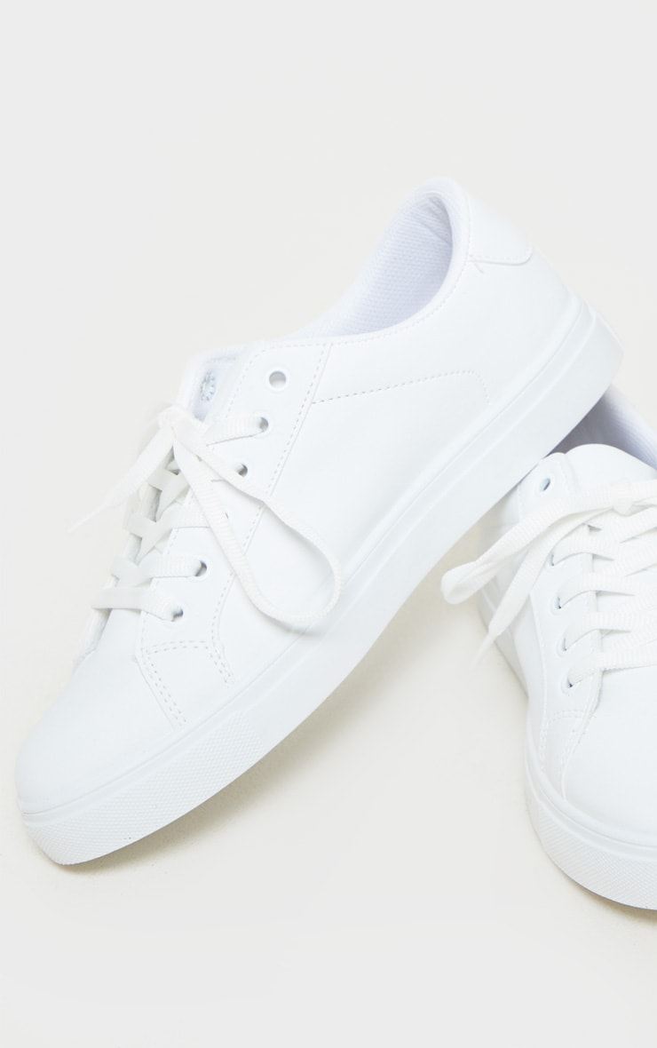 White Lace Up PU Sneaker 4