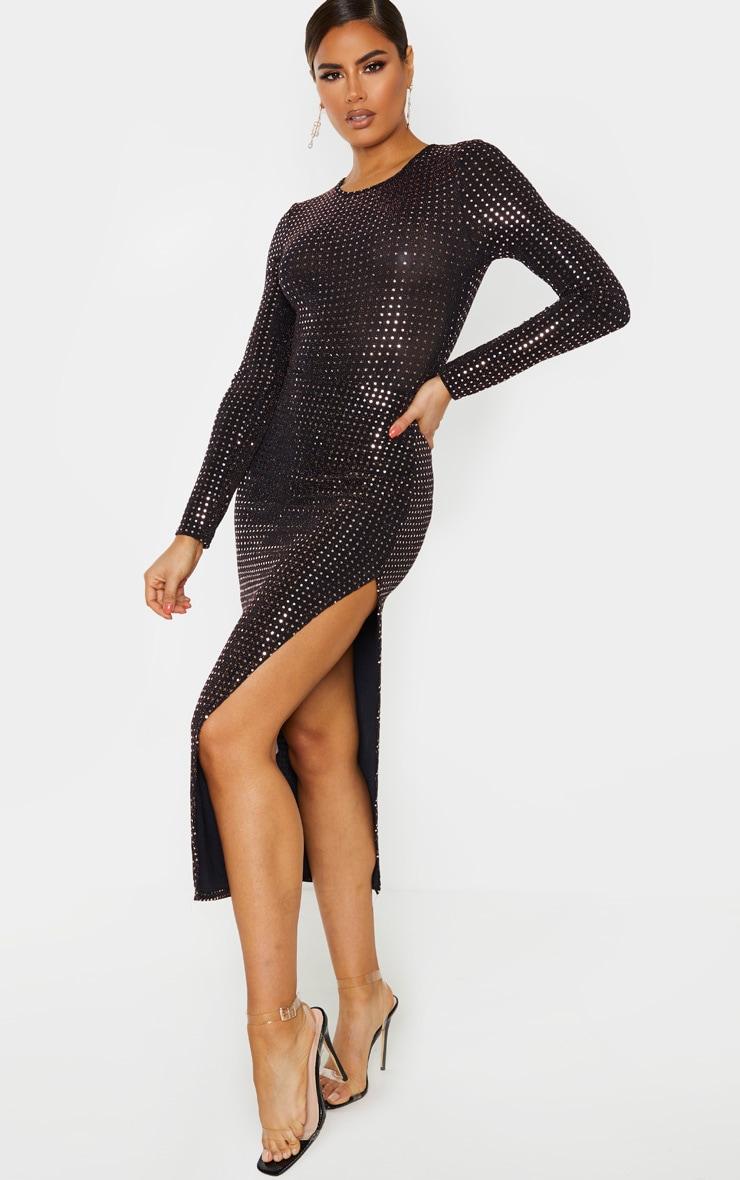 Tall Rose Gold Sequin Split Side Skirt  1