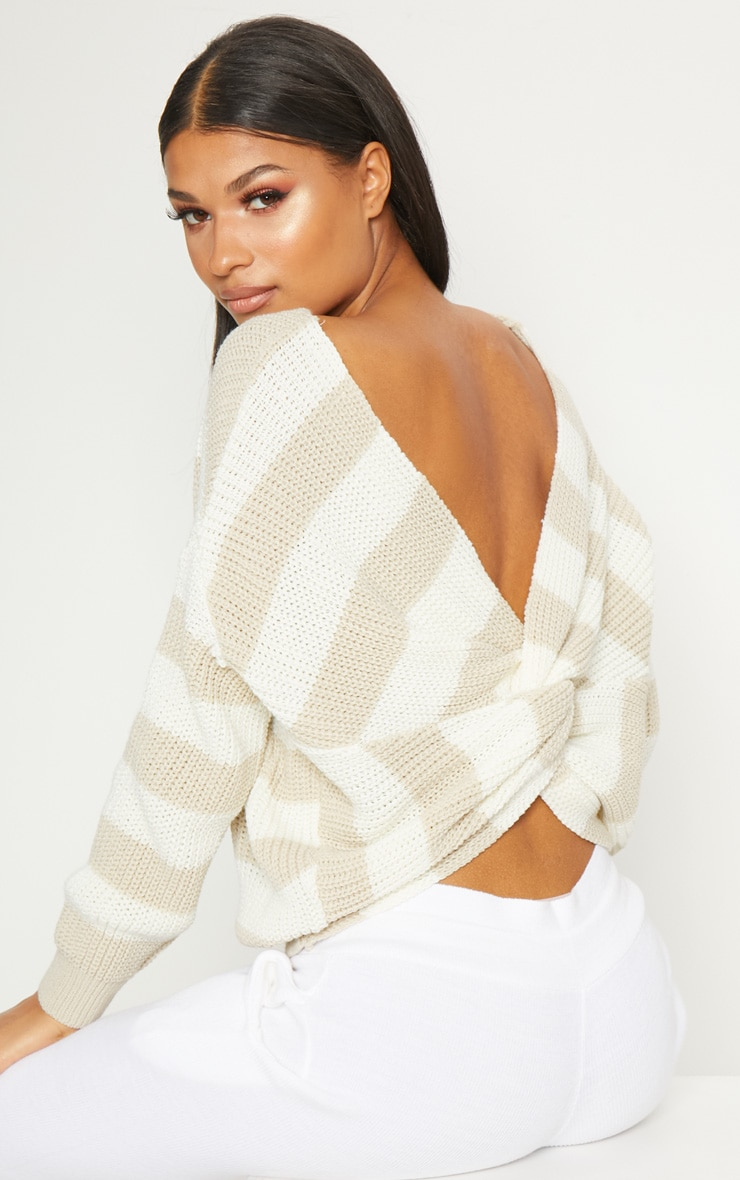 Stone Stripe Twist Back Sweater 1