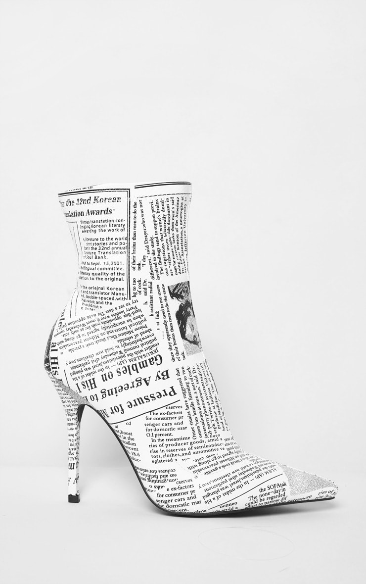 White Newspaper Print High Heel Pointed Boots 4