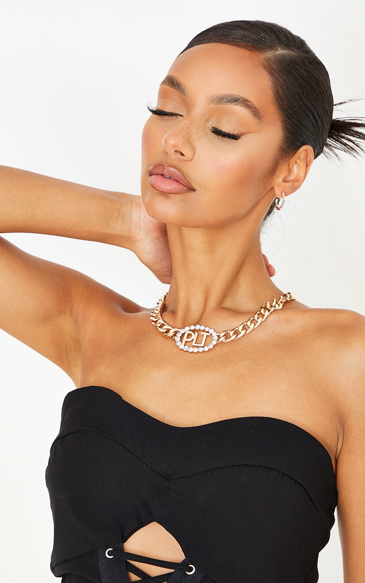 PRETTYLITTLETHING Gold Diamante Chain Necklace 1